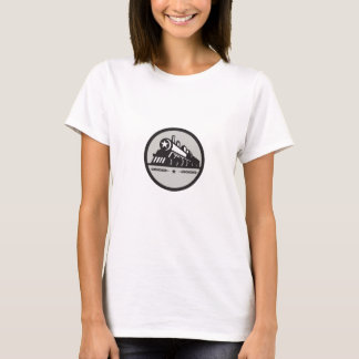 Steam Train Locomotive Star Circle Retro T-Shirt