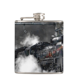 Steam Train Locomotive Transportation Night Flask