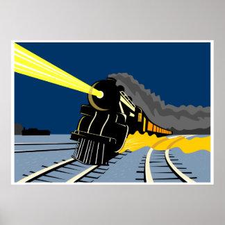 steam train locomotive traveling at night lights poster