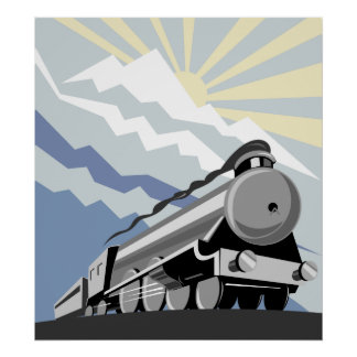 steam train locomotive traveling mountain scene poster