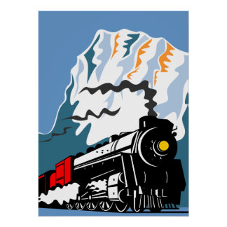 steam train locomotive traveling mountains scene poster