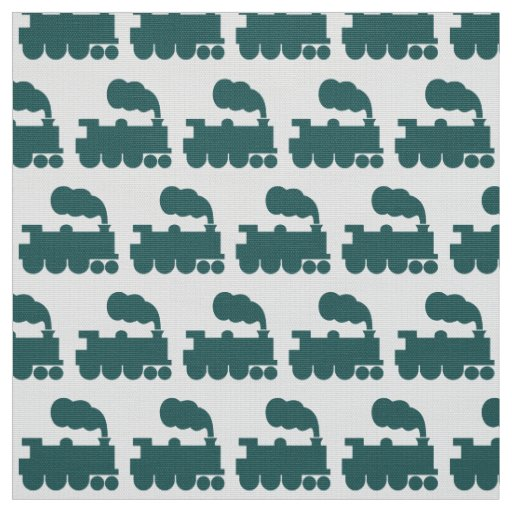 Steam train pattern moss green and white fabric zazzle for Fabric with trains pattern