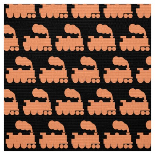 Steam train pattern peach on black fabric zazzle for Fabric with trains pattern