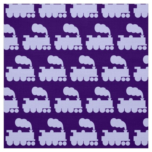 Steam train pattern powder blue on deep purple fabric for Fabric with trains pattern