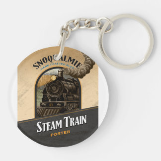 Steam Train Porter Double-Sided Round Acrylic Keychain