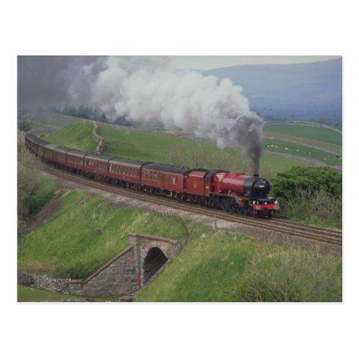 Steam train post card