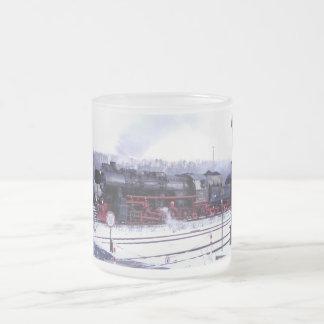 steam train railway locomotive station engine frosted glass coffee mug