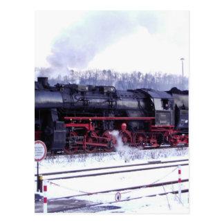 steam train railway locomotive station engine postcard