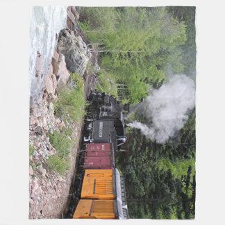 Steam train & river, Colorado, USA Fleece Blanket