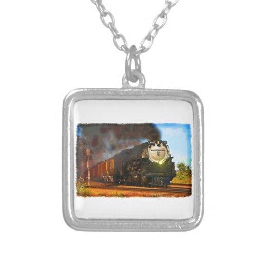 Steam Train Square Pendant Necklace