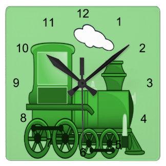 Steam Train Square Wall Clock