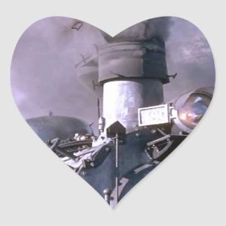 Steam train USA Heart Sticker