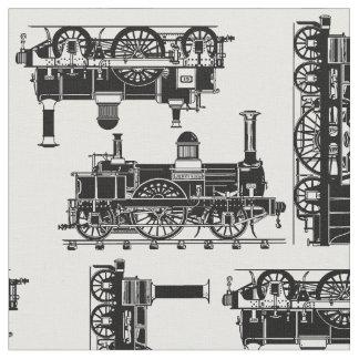 Steam Trains Classic vintage Victorian locomotives Fabric