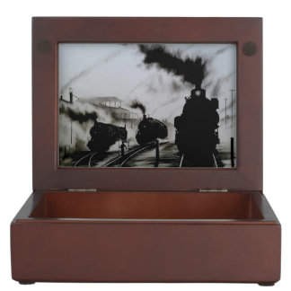 steam trains in the yard memory box