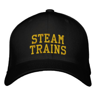 STEAM TRAINS UK EMBROIDERED BASEBALL CAP