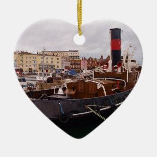 Steam Tug Cervia Double-Sided Heart Ceramic Christmas Ornament