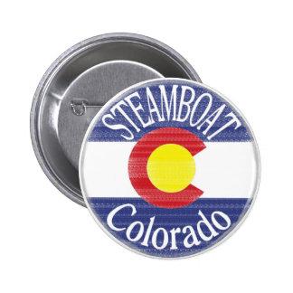 Steamboat Colorado circle flag Pin