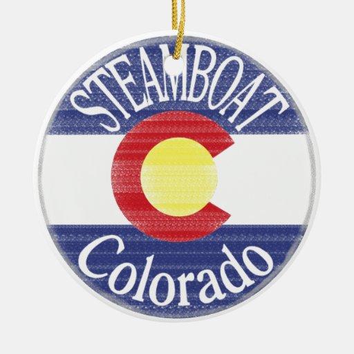 Steamboat Colorado circle flag Christmas Tree Ornament