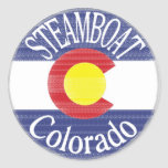 Steamboat Colorado circle flag Round Sticker