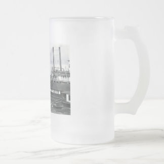 steamboat frosted glass beer mug