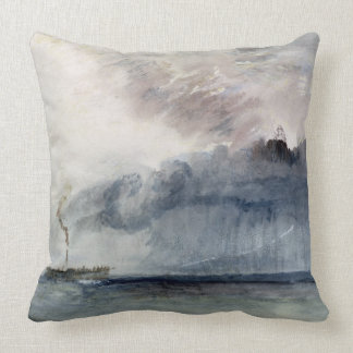 Steamboat in a Storm, c.1841 (w/c & pencil on pape Throw Pillow