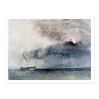 Steamboat in a Storm, c.1841 (w/c & pencil on pape Postcard