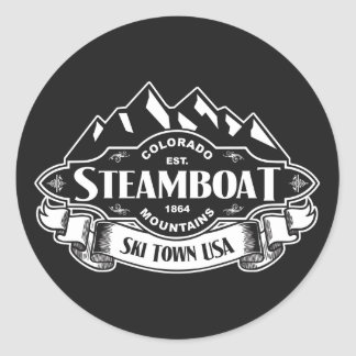 Steamboat Mountain Emblem Classic Round Sticker
