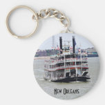 Steamboat on the Mississippi River Basic Round Button Keychain
