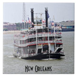 Steamboat on the Mississippi River Large Square Tile