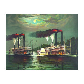 Steamboat Race 1883 Canvas Print