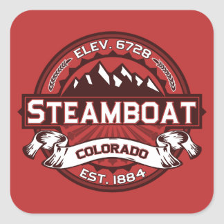 Steamboat Red Square Sticker