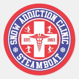 Steamboat Snow Addiction Clinic Classic Round Sticker