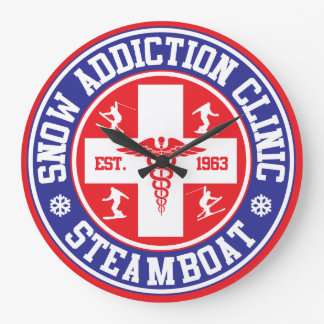 Steamboat Snow Addiction Clinic Large Clock