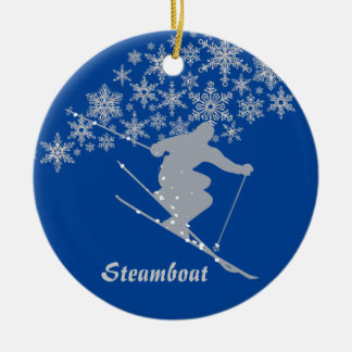 Steamboat Snowflake Skier Personalized Ceramic Ornament