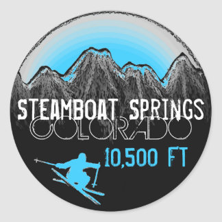 Steamboat Springs Colorado blue ski stickers