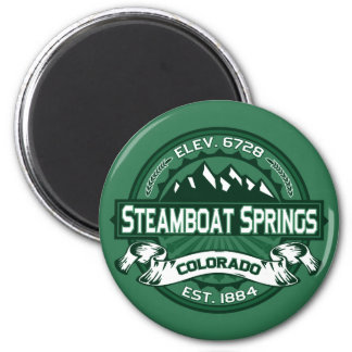 "Steamboat Springs ""Colorado Green"" Logo 2 Inch Round Magnet"