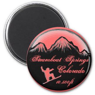 Steamboat Springs Colorado pink snowboard magnet