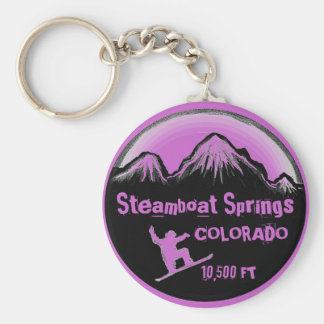 Steamboat Springs Colorado snowboard keychain