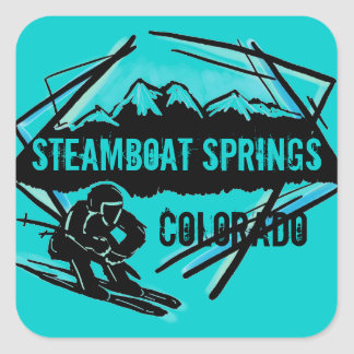 Steamboat Springs Colorado teal ski stickers
