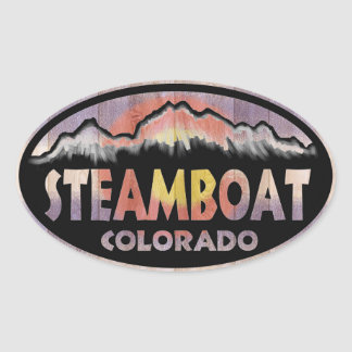 Steamboat Springs Colorado wood flag oval stickers