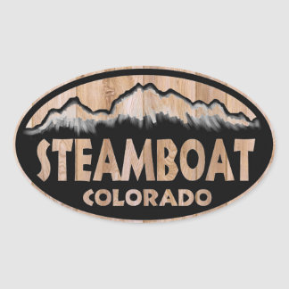 Steamboat Springs Colorado wood sign oval stickers
