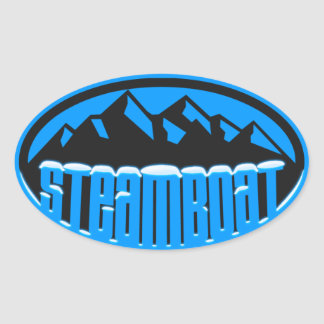 Steamboat Springs coronado de nieve Pegatina Ovalada