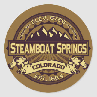 Steamboat Springs Sepia Classic Round Sticker