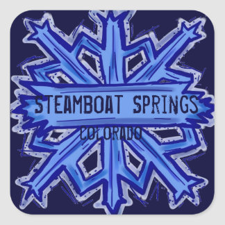 Steamboat Springs square snowflake stickers