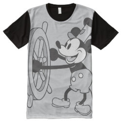 Men's American Apparel All-Over Printed Panel T-Shirt with Steamboat Willie Mickey Mouse design