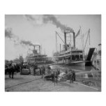 Steamboats at Vicksburg, 1910. Vintage Photo Poster