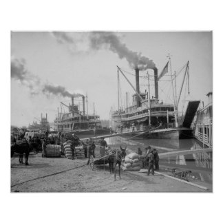 Steamboats at Vicksburg, 1910. Vintage Photo Poster