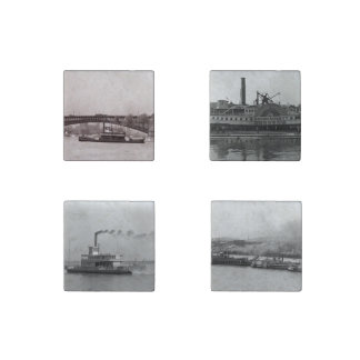 Steamboats Stone Magnet