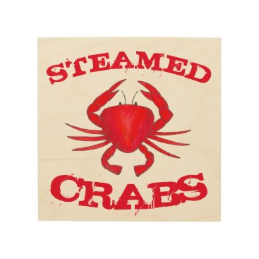 Beach Themed Steamed Crabs Red Maryland Seafood Kitchen Beach Wood Wall Decor