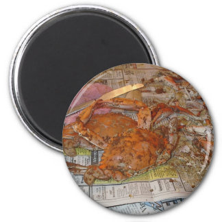 STEAMED CRABS YUMMY 2 INCH ROUND MAGNET